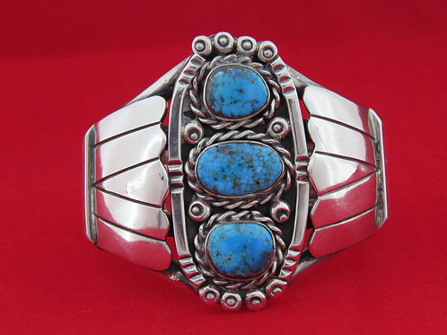 Vintage Sterling silver 925 Bracelet Bangle Open Cuff Turquoise stone