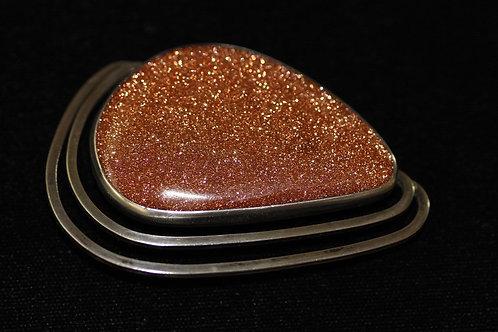וינטג' יודאיקה תליון סיכה מעוצבת משובצת באבן זהב מכסף סטרלינג 925 ישראל '50