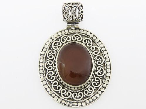 וינטג' תליון פיליגרין משובץ אבן קורניאול מכסף סטרלינג 925 ישראל '50