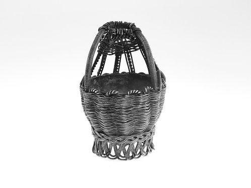 כלי עתיק למלח מכסף 84 עבודת יד בצורת סלסלת קש קלועה רוסיה הצארית מאה-'19 aaronjewelryart.com