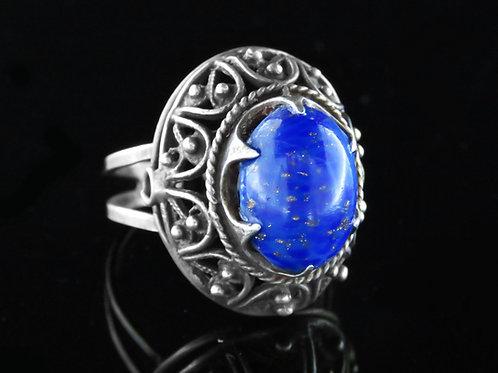 טבעת וינטג' מתכווננת מכסף סטרלינג 925 מפיליגרין זכוכית כחולה ישראל בעבודת יד '40 aaronjewelryart.com
