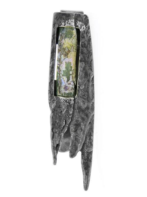 סיכת עניבה וינטג' מכסף סטרלינג 925 וזכוכית ארכיולוגית בעיצוב מודרני ישראל '50 aaronjewelryart.com