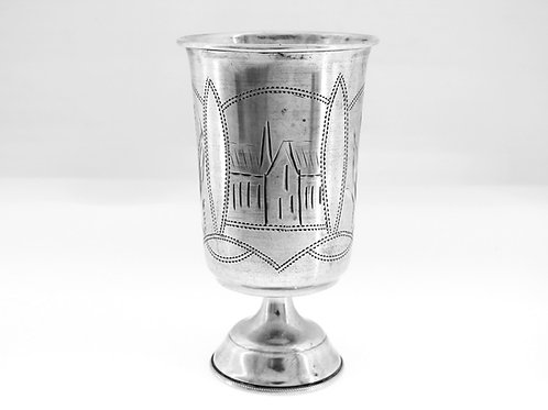 גביע כוס עתיק מכסף רוסי 84 עם חריטת בתים ועצים רוסיה  aaronjewelryart.com
