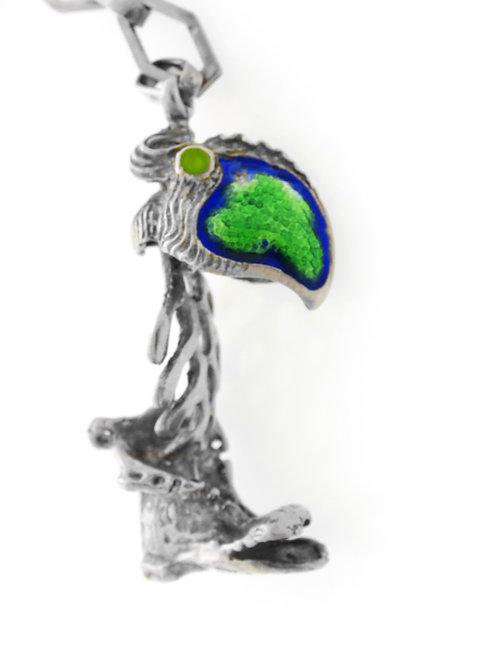 מחזיק מפתחות וינטג' מכסף סטרלינג 925 בעיצוב אומן מודרני ציפור מגף אמייל 34.9 גרם aaronjewelryart.com