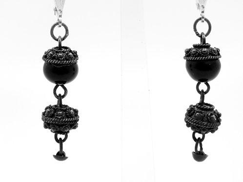 זוג עגילי וינטג' מכסף סטרלינג 925 עבודת פיליגרין ואוניקס סגנון בצלאל ישראל - '50 aaronjewelryart.com