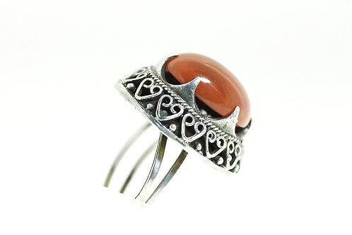 טבעת וינטג' מכסף סטרלינג 925 בעיצוב תימני מפיליגרין מתכווננת בשיבוץ אגת ישראל 50 aaronjewelryart.com