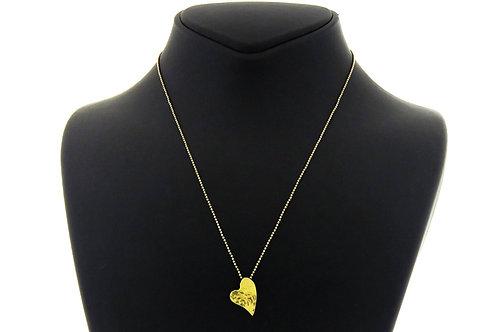 Vintage HEART Necklace Pendant Sterling Silver 925 & gold Modernist Israel 60' aaronjewelryart.com