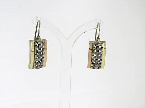 עגילים וינטג' מכסף סטרלינג 925 עם 2 פסים מזהב בעיצוב מודרני ישראל 80' aaronjewelryart.com