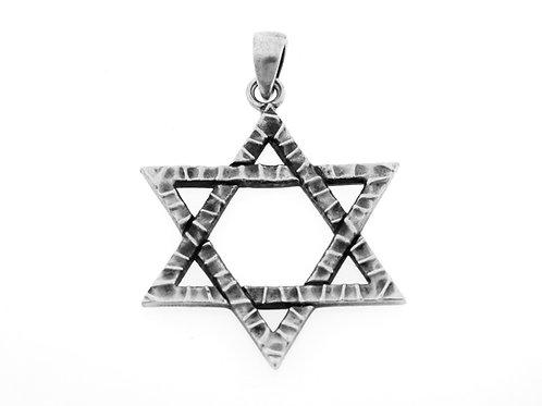 תליון מגן דוד מכסף סטרלינג 925 בעיצוב מודרני ישראל בעבודת יד 60 aaronjewelryart.com