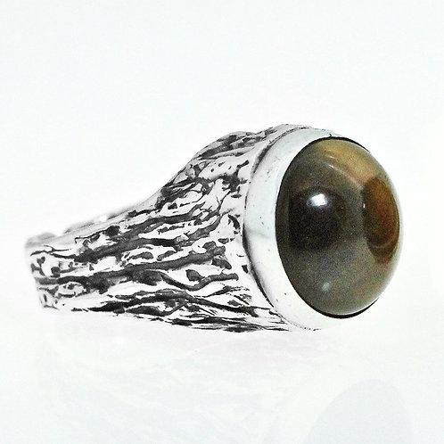 וינטג' מעוצבת מודרניסטית גדולה משובצת באבן טייגר איי מכסף סטרלינג 925 ישראל '50  טבעת aaronjewelryart.com