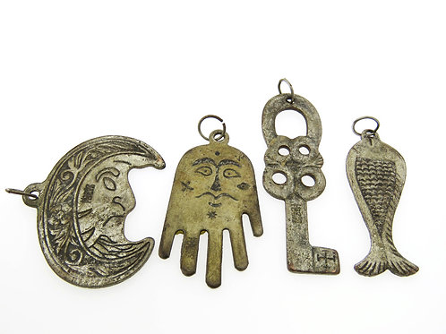 4 amulets for good luck and against the evil eye handmade moon, hamsa, key, fish, various metals aaronjewelryart.com