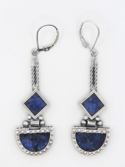 זוג עגילי וינטג' מכסף סטרלינג 925 מודרניסטי קוביסטי אבנים כחולות עבודת יד אומנות aaronjewelryart.com