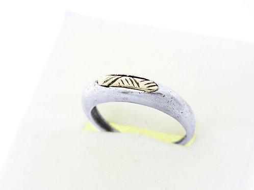 טבעת וינטג' מכסף סטרלינג 925 וזהב בעיצוב מודרני עבודת יד ישראל שנות ה '80