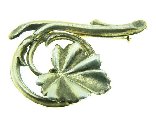 Vintage Pin Brooch silver sterling  925 beautiful leaf branch Israel Palestine Signed 1930s aaronjewelryart.com