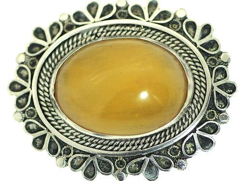 סיכת תליון ויטג' בצלאל יודאיקה מכסף סטרלינג 925 משובץ באמבר ישראל 50 aaronjewelryart.com