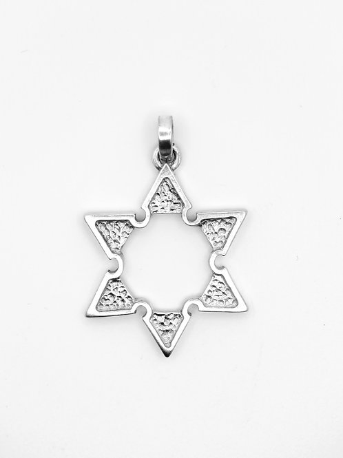 תליון  וינטג' מכסף סטרלינג 925 מגן דוד עיצוב מודרניסטי קוביסטי ישראל שנות ה - 60