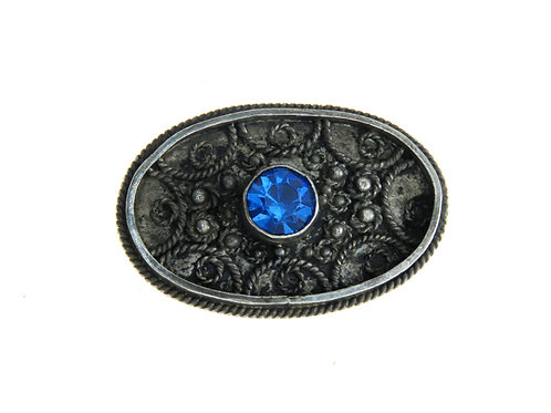 Vintage brooch Pin sterling silver 925 filigree and blue glass Israel 1950s aaronjewelryart.com