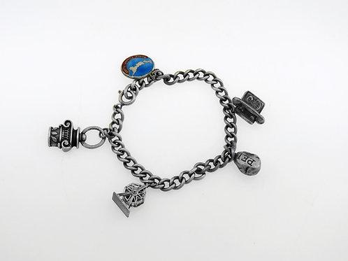 צמיד צ'ארם וינטג' מכסף סטרלינג 925 עם 5 קמעות מזל בנושא עולמי קנדה בעבודת יד   aaronjewelryart.com