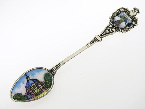 Vintage solid Silver 800 Enamel souvenir spoon Scherpenheuvel Belgium