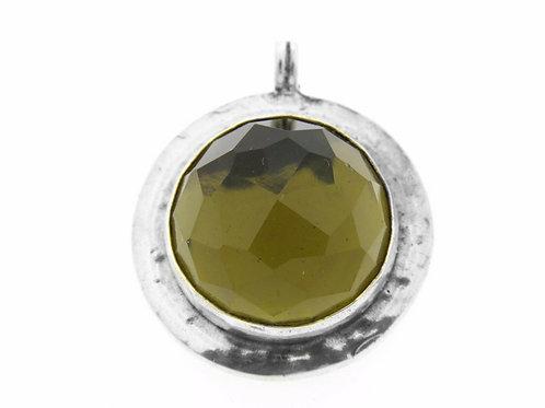 תליון וינטג' מכסף סטרלינג 925 בשיבוץ אבן סמוקי קוורץ עבודת יד ישראל 80  aaronjewelryart.com