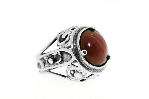 טבעת וינטג' מעוצבת מודרניסטית גדולה משובצת באבן קורניאול מכסף סטרלינג 925 ישראל '50   aaronjewelryart.com
