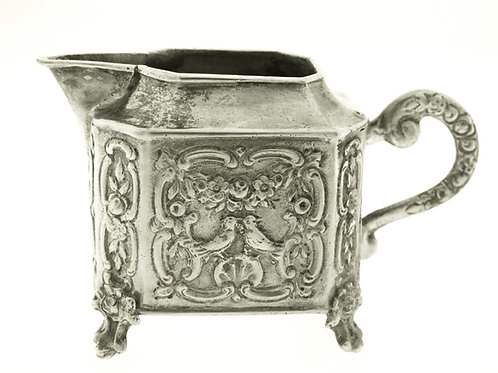 Vintage Solid Silver alloy 800 miniature Small Creamer Jug Pitcher flowers and birds 47.1g aaronjewelryart.com
