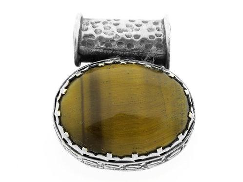 תליון וינטג' מכסף סטרלינג 925 בעיצוב מודרני עם אבן טייגר איי עבודת יד ישראל '60  aaronjewelryart.com