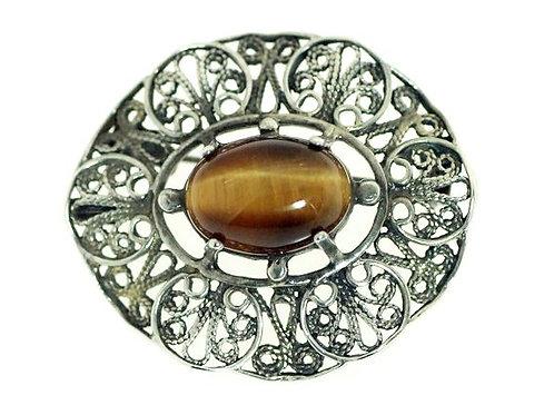 סיכת תליון וינטג' יודאיקה מכסף סטרלינג 925 פיליגרין ישראל '50 aaronjewelryart.com
