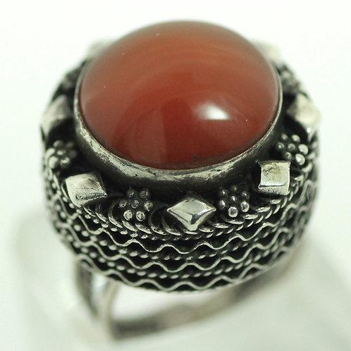 טבעת פיליגרין גדולה וינטג' מכסף סטרלינג 925 משובצת באבן כתומה 50' מתכווננת