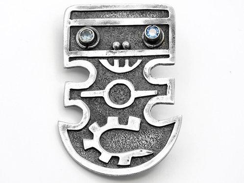 סיכה וינטג' מכסף סטרלינג 900 אל אצטקי עיניים משובצות אקוומרין אקוודור ש - '50 aaronjewelryart.com