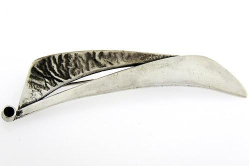 סיכה גדולה וינטג' מכסף סטרלינג 925 בעיצוב מודרני ובשיבוץ אבן אוניקס עבודת יד '50