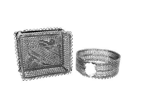 Vintage sterling silver 925 LOT Napkin ring & matchboxes Holder Filigree handmade aaronjewelryart.com
