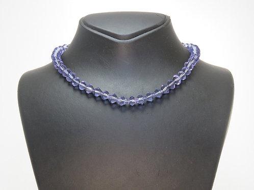 שרשרת וינטג' לצוואר עשויה מקריסטל צבעוני מלוטש בצבע של אבן אמטיסט aaronjewelryart.com