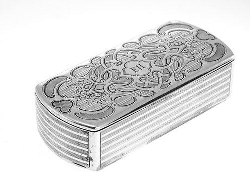 קופסת כסף עתיקה לטבק הרחה כסף 950 עבודת יד ריפוד עור בפנים צרפת מאה '19 aaronjewelryart.com