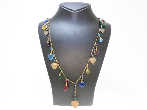 Vintage necklace for Valentine's Day glass and brass hearts G.W.S USA-80' aaronjewelryart.com