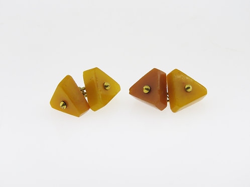 Vintage Triangle Cufflinks natural Amber   Artisan Russia 50' hand made