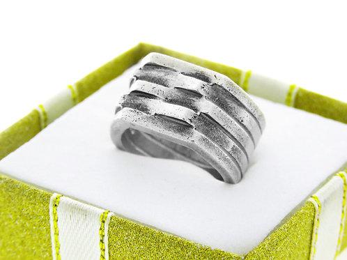 טבעת וינטג' מכסף סטרלינג 925 עבה בעיצוב מודרני עבודת יד ישראל שנות ה '60 aaronjewelryart.com