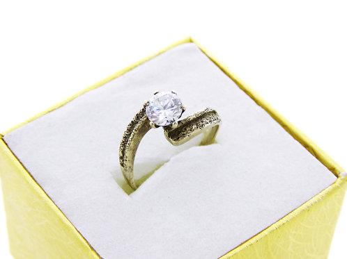 70 טבעת וינטג' מכסף סטרלינג 925 מצופה זהב בעיצוב מודרני עם זירקון עבודת יד ישראל aaronjewelryart.com