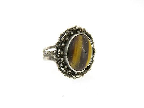 וינטג' טבעת מעוצבת פיליגרין משובצת בטייגר איי מכסף סטרלינג 925 ישראל '40