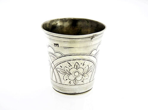 Antique Sterling silver 925 cup Engraved Flowers herbal Rusian Russia 84