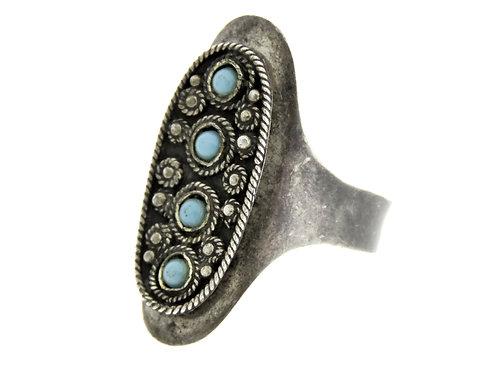 טבעת וינטג' מכסף סטרלינג 925 פיליגרן טורקיז מתכוונן ישראל ירושלים שנות ה '50 aaronjewelryart.com