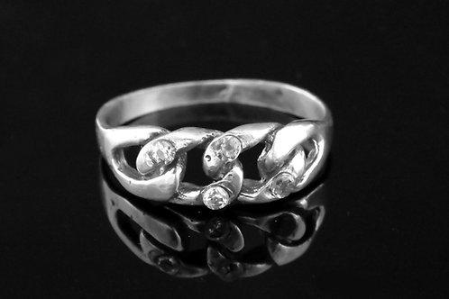 70' נשנות הטבעת וינטג' מכסף סטרלינג 925 זירקון בעיצוב מודרני עבודת יד ישראל  aaronjewelryart.com