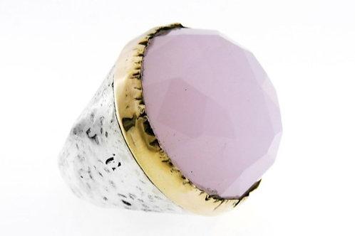 טבעת וינטג 'מכסף סטרלינג 925 מעוצבת גדולה משובצת באבן רוז קוורץ ישראל '90 aaronjewelryart.com