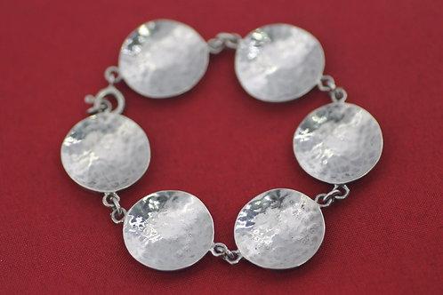 Vintage Sterling silver 925 Bracelet   Modernist Artisan Hammering Israel 70'