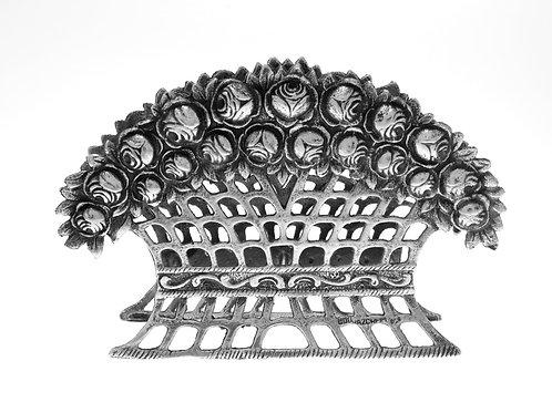 מפיון פתוח כסף מלא 800 עיטור שושנים הצורפים ישראל שנות ה - '50, 89 גרם  aaronjewelryart.com
