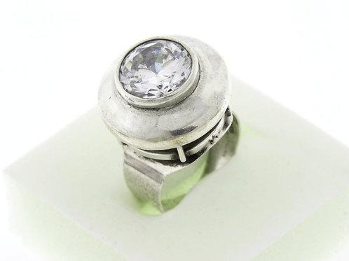 וינטג' טבעת בעיצוב מודרני מכסף סטרלינג 925 מתכווננת ישראל 50' בעבודת יד