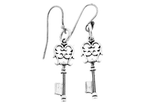 Vintage Key Earrings Sterling Silver 925 Modernist Artisan Israel 70'