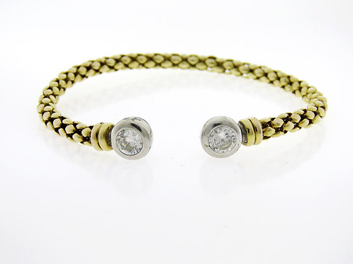 Uitima Edizione 70' צמיד פתוח וינטג' מכסף סטרלינג 925 בציפוי זהב בעיצוב מודרני aaronjewelryart.com