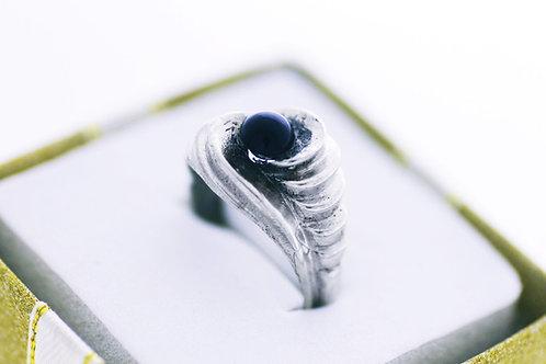 טבעת וינטג' מכסף סטרלינג 925 בעיצוב מודרני פסל ואוניקס עבודת יד ישראל שנות ה'60  aaronjewelryart.com