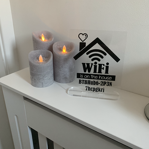 Home Wifi Acrylic Sign - Personalised with your password